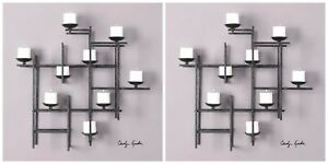 Two 31 Metal Decorative Wall Sculpture Sconce Candle Holder 3 Dimensional Style
