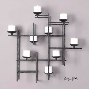 New 31 Metal Decorative Wall Sculpture Sconce Candle Holder 3 Dimensional Style