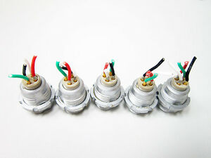 5x Lemo Ecg 2b Female 4 Pin Circular Push Pull Connectors
