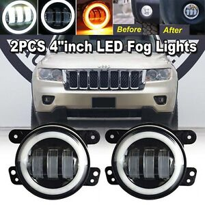 For Jeep Grand Cherokee 2011 2012 2013 2pcs 4 Inch Led Halo Bumper Fog Lights