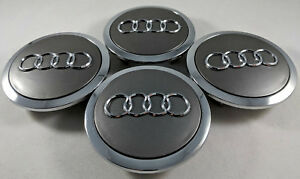 4x Pc Grey Chrome Wheel Center Replacement Hub Caps For Audi 69mm 4b0601170a