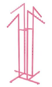 4 way Clothing Rack Hot Pink Slant Arm Garment Retail Display 48 72 H Adjust