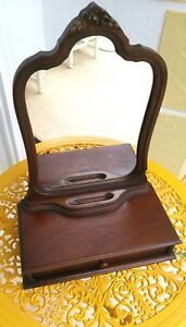 Antique Art Nouveau Wood Tabletop Mirror Shaving Dresser Top Vanity Comb Brush
