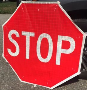 Korman 36 Red Vinyl Roll Up Stop Sign 3m Reflective Dot Rollup Traffic Road