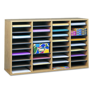 Safco Products 9424mo Wood Adjustable Literature Organizer 36 Compartment Oak