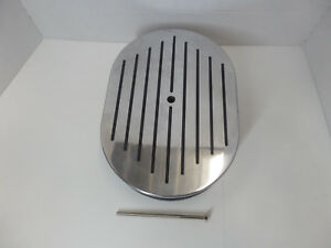 12 X 2 Polished Ball Milled Air Cleaner W Black Stripes Chevy Ford Chrysler
