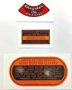 1935 1953 Plymouth Engine Decal Set