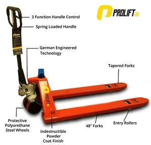 Safety First Pallet Jack Hand Truck W safety Light Prolifthd 5500 Lbs 27 x48