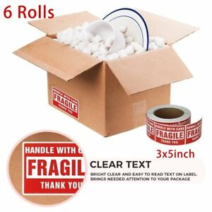 6 Rolls 3000 Labels 3x5 Fragile Stickers Handle With Care Shipping Mailing Label