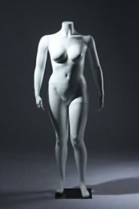Large Size Headless Abstract Female Fiberglass Mannequin White W1h
