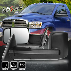 For 02 09 Dodge Ram Pair Manual Adjustment Flip Up Side Towing Tow Mirrors Lh Rh