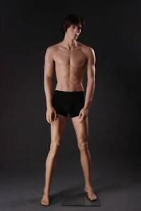 Brand New Attractive Male Full Body Fiberglass Realistic Mannequin Flesh Tone