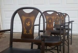 4 Vtg Antique Folding Arm Chairs Louis Rastetter Sons Solid Kumfort Set Bentwood