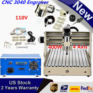4 Axis 400w Cnc Router Engraver Engraving Cutter 3040 3d Drilling T screw Best