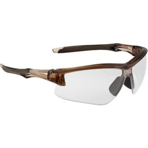 Uvex Acadia Safety Glasses With Clear Anti fog Lens Brown Frame