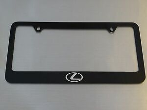 Lexus Logo License Plate Frame Glossy Black Metal Brushed Aluminum Text
