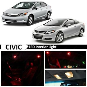 8x Red Interior Map Led Light Package Kit Fits 2006 2012 Honda Civic Sedan Coupe