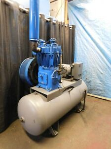 Quincy 10 Hp Pressure Lubricated Recip Air Compressor w 2007 120 Gal hor tank