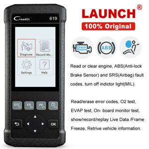 Launch Cr619 Code Reader Abs Srs Reset Obd2 Scanner Engine Check Diagnostic Tool