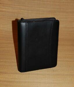 Classic 1 5 Rings Black Pebbled Leather Franklin Covey Zip Planner binder