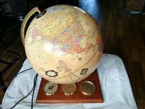 Cram S Antique World Globe 12 Lighted Light With Barometer And Wood Base