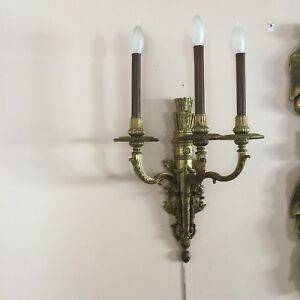Set Of Empire Antique Bronze French Wall Sconces
