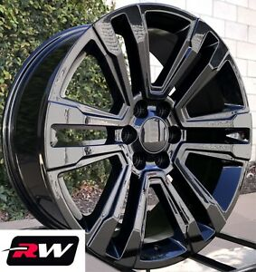 Chevy Tahoe Wheels 2017 2018 Gmc Yukon Denali 20 Inch Gloss Black Rims 20x9