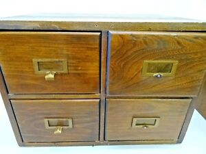 Vintage 4 Drawer Wooden Index Card File Cabinet