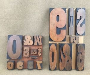 2 Lot Huge Small Wood Type Letterpress Printers Block Pictures