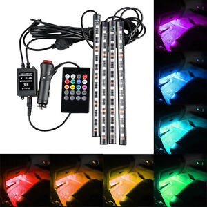 4x Rgb Car Led Interior Strips 12 Smd Atmosphere Under Dash Accent Light Kit G3