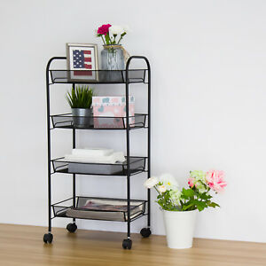 4 Tier Metal Trolley Rolling Cart Kitchen Office Organizer Movable Storage Rack