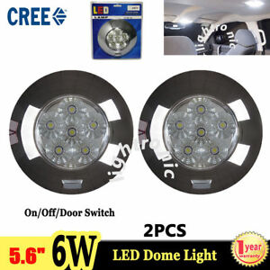 2x 5 6 6w Cree Led Dome Light Interior Lamp On off door Switch Offroad Round