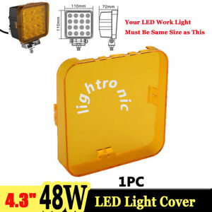 1x Snap On Amber Lens Cover For 4 3 Inch 48w Square Led Work Light Offroad 4wd