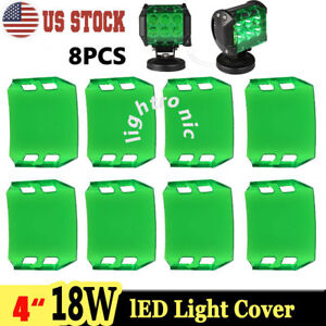 8x Snap On Green Lens Cover For 4 Inch 18w Led Work Light Bar Lamp Offroad Atv