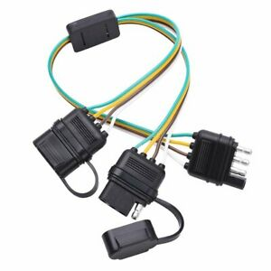 4 Pin Adapter Tow Hitch Y Splitter Trailer Harness W Dust Caps Led Light Bar