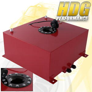 60 Liter 15 Gallon Red Aluminum Fuel Cell Tank W Black Cap Track Upgrade