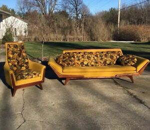 Mid Century Gondola Sofa By Rowe Manner Of Adrian Pearsall Danish Couch Chair
