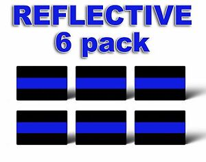 Pack Of 6 Reflective Thin Blue Line License Plate Decals Stickers Police Trooper