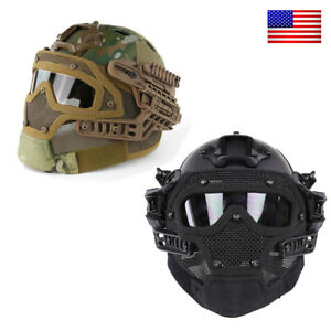 Multi-function Tactical Airsoft Paintball Fast Helmet Mask Goggles Protective