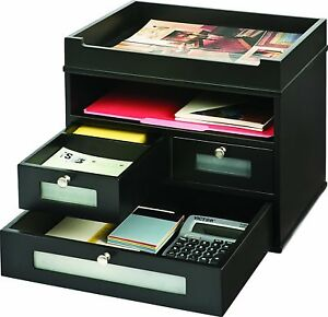 Office Desk Organizer Desktop Supplies Stationery Storage Paper File Wood Tray