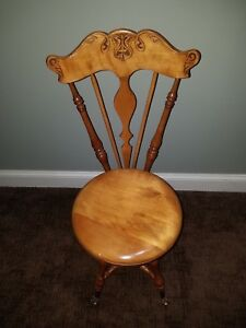 Antique Piano Chair With Claw Feet