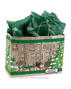 Paper Shopping Bags 100 Christmas Gift Retail Merchandise Handles 16 X 6 X 12