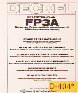 Deckel Fp3a Universal Tool Milling Boring Spare Parts Manual Year 1981