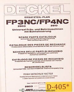 Deckel Fp3nc Fp4nc Universal Tool Milling Boring Spare Parts Manual 1985