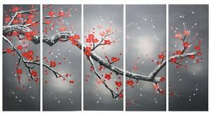Ode rin Art 100 Hand Painted Large Plum Blooming 5 Pieces Wall Art Red Framed