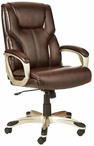 Office Manager Chair Leather Seat Executive Pillow Desk Computer Padded Brown
