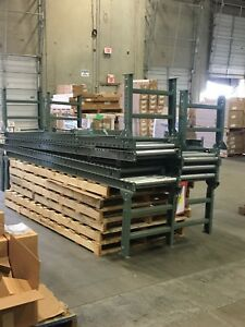 Uline H 3412 Gravity Roller Conveyor 24 x10 Two H 3414 24 H stands