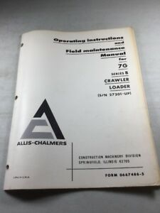 Allis Chalmers Hd15 Crawler Loader Operating Instructions Maintenance Manual