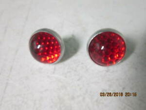 Pair Of Glass Tail Light Round Reflectors Fits Willys Jeep Wagon 53 63