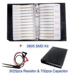 3725pcs Smd 0805 63value Resistor 5 17value Capacitor Sample Book clip Tweezer